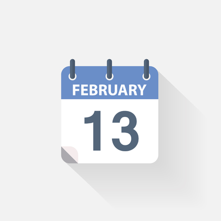 13: 13 february calendar icon on grey background Illustration