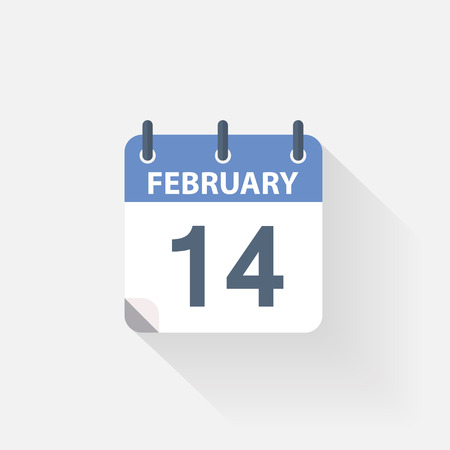 14 of february: 14 february calendar icon on grey background Illustration