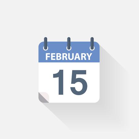 15: 15 february calendar icon on grey background Illustration