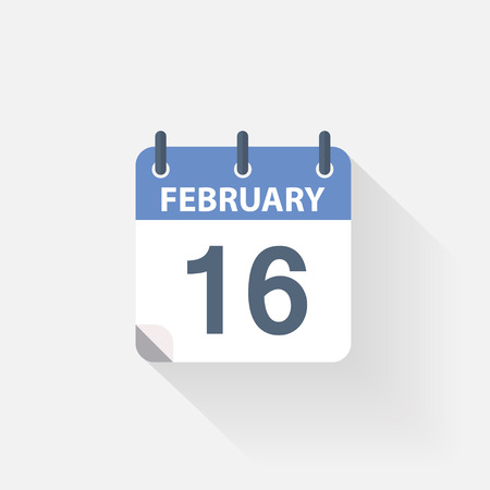 event calendar: 16 february calendar icon on grey background Illustration