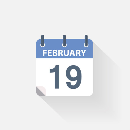 19 years: 19 february calendar icon on grey background