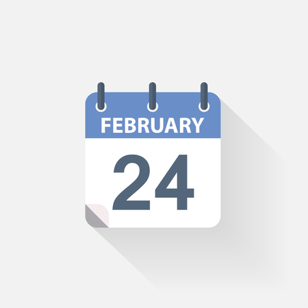 event calendar: 24 february calendar icon on grey background