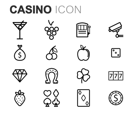 camera symbol: Vector black line casino icons set on white background