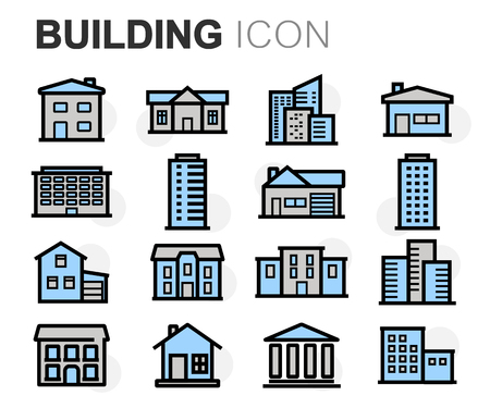 modern apartment: Vector flat line building icons set on white background