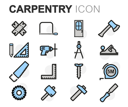 tools icon: Vector flat line carpentry icons set on white background Illustration