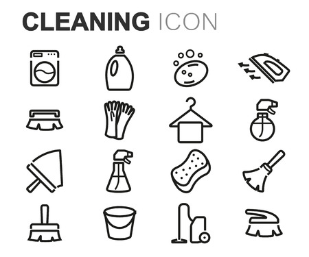 cleaning bucket: Vector black line cleaning icons set on white background
