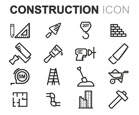 engineering tool: Vector black line construction icons set on white background