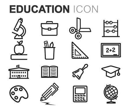 studying computer: Vector black line education icons set on white background