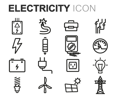 solar battery: Vector black line electricity icons set on white background