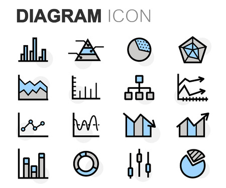 business icon: Vector flat line diagram icons set on white background