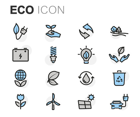 eco icons: Vector flat line eco icons set on white background