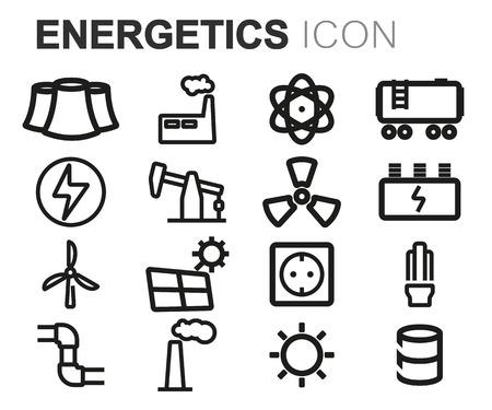 energetics: Vector black line energetics icons set on white background