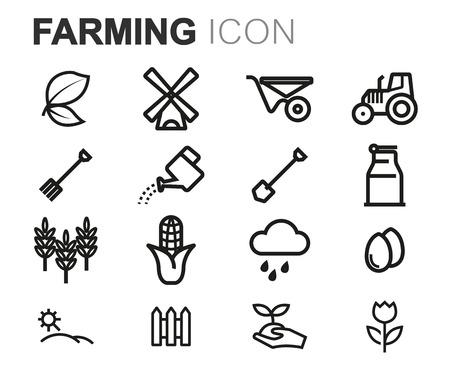 grain fields: Vector black line farming icons set on white background