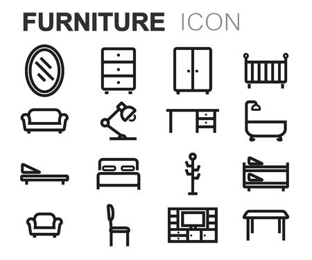 armchair: Vector black line furniture icons set on white background