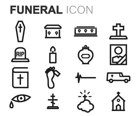 ashes: Vector black line funeral icons set on white background
