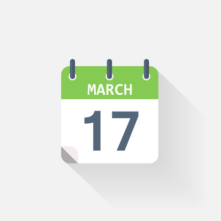 march 17: 17 march calendar icon on grey background