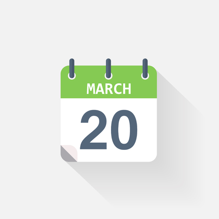 event calendar: 20 march calendar icon on grey background