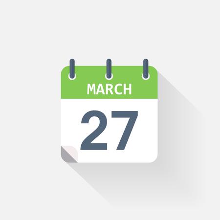 27: 27 march calendar icon on grey background Illustration