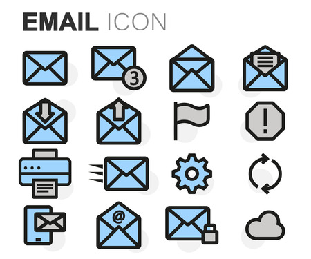email icons: Vector flat line email icons set on white background
