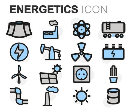 energetics: Vector flat line energetics icons set on white background Illustration