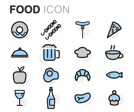icons set: Vector flat line food icons set on white background