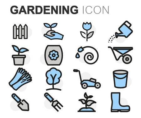 lawns: Vector flat line gardening icons set on white background
