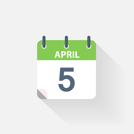 event calendar: 5 april calendar icon on grey background