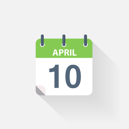 event calendar: 10 april calendar icon on grey background