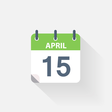 event calendar: 15 april calendar icon on grey background Illustration