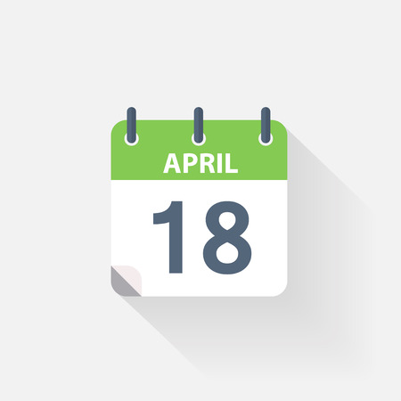 18: 18 april calendar icon on grey background