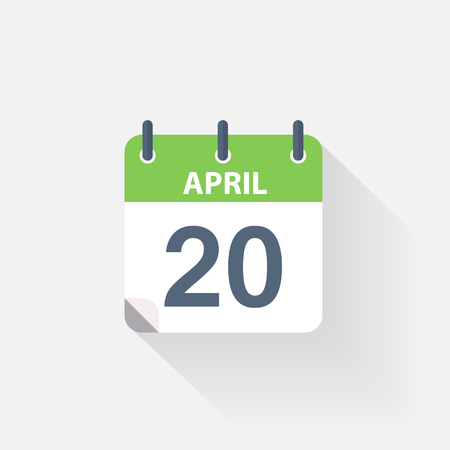 event calendar: 20 april calendar icon on grey background