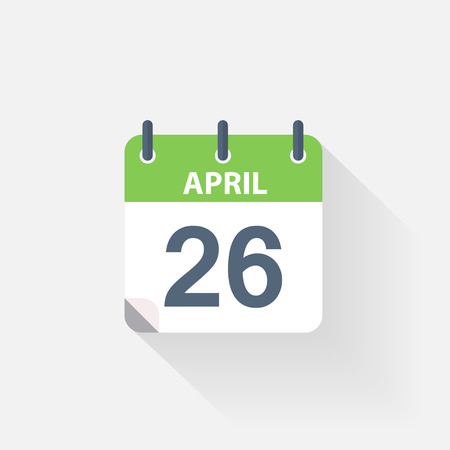 26: 26 april calendar icon on grey background