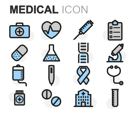 pharmacy pills: Vector flat line medical icons set on white background