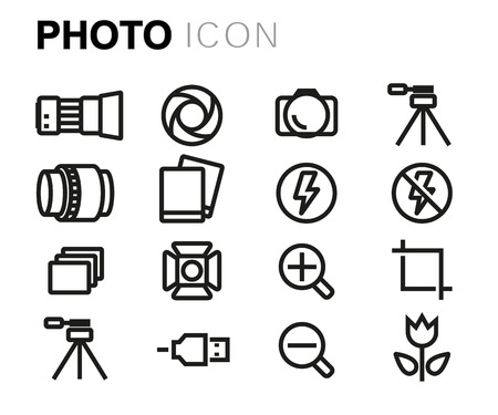 camera symbol: Vector black line photo icons set on white background