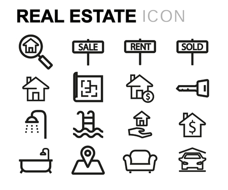 swimming pool home: Vector black line real estate icons set on white background