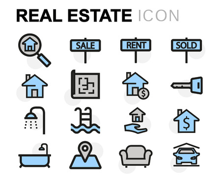 residential houses: Vector flat line real estate icons set on white background Illustration