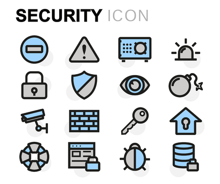 Vector flat line security icons set on white background