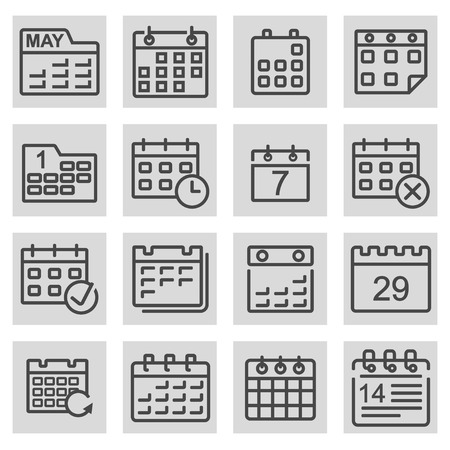 event calendar: Vector black line calendar icons set on grey background Illustration
