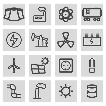 energetics: Vector black line energetics icons set on grey background