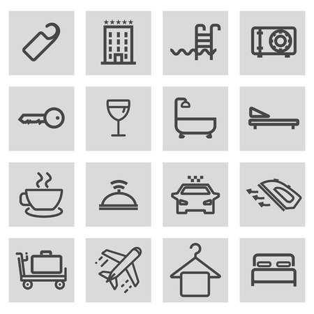 grey line: Vector black line hotel icons set on grey background
