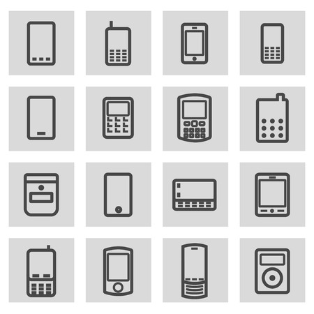 industrial vehicle: Vector black line mobile icons set on grey background