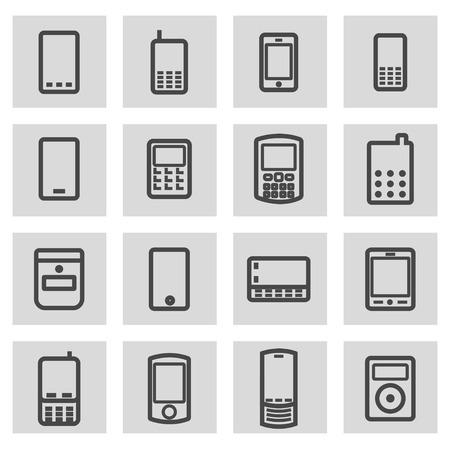 gold mine: Vector black line mobile icons set on grey background