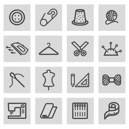 Vector black line sewing icons set on grey background