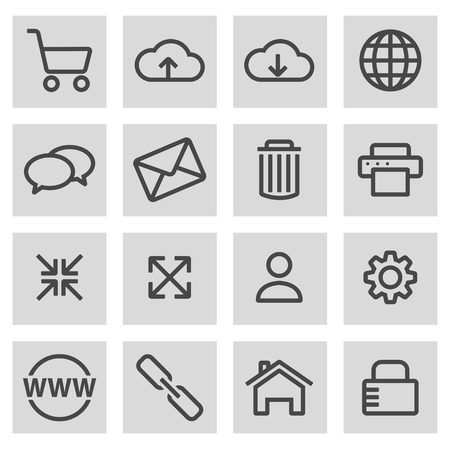 grey line: Vector black line web icons set on grey background