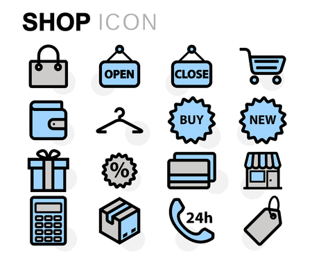 shopping malls: Vector flat line shop icons set on white background