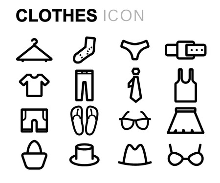 white clothes: Vector black line clothes icons set on white background