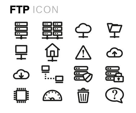 ftp servers: black line ftp icons set on white background