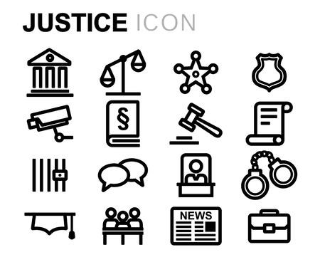 jury: black line justice icons set on white background Illustration
