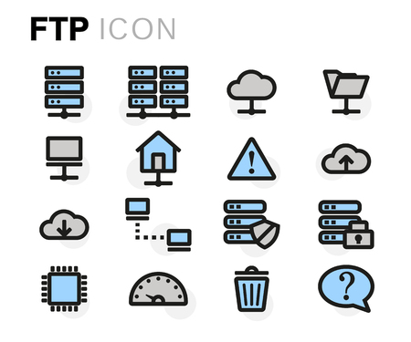 ftp: flat line ftp icons set on white background Illustration