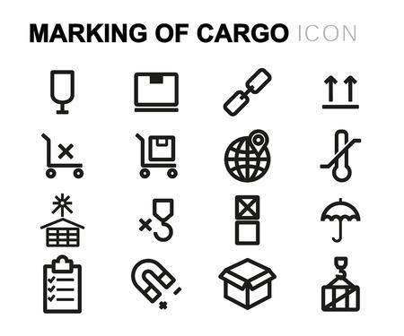 marking: black line marking of cargo icons set on white background